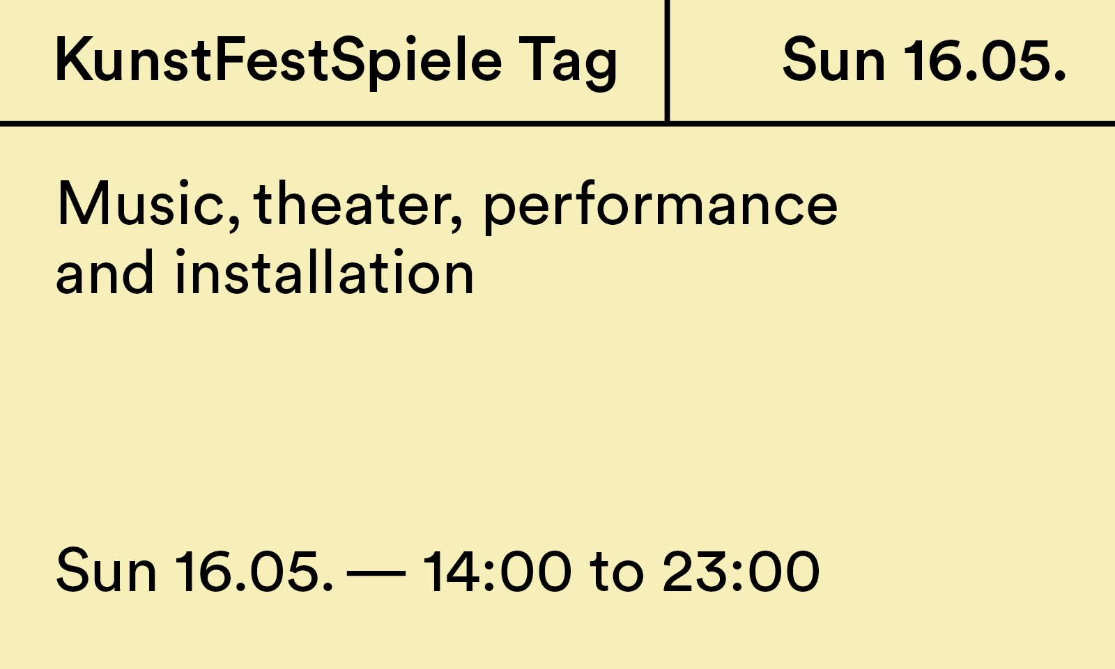 The KunstFestSpiele Tag 2021